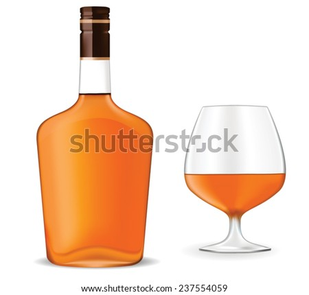 Bottle of brandy with snifter. Vector on white background.  - stock vector