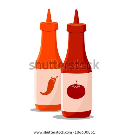 Bottle of Chili and Tomato Ketchup Sauce
