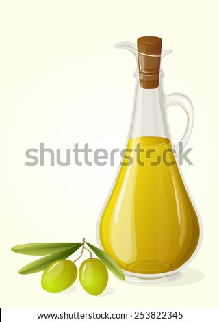 Bottle of olive oil and branch of olives, vector.