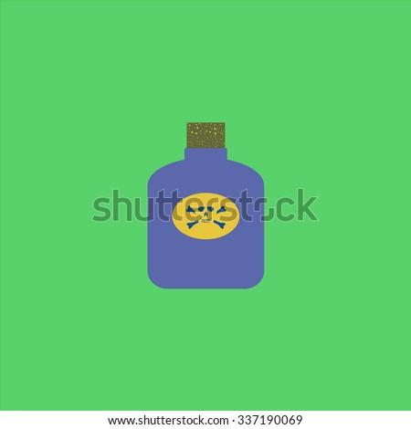 Bottle of poison. Icon Vector. Icon Picture. Icon Graphic. Icon Art. Icon JPG. Icon JPEG. Icon EPS. Icon AI. Icon FLAT. Icon SIMPLE - stock vector