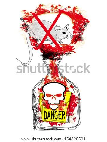 bottle of rat poison - stock vector