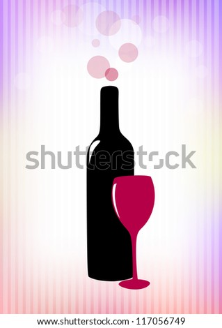 Bottle of red wine and glass on pink-violet background. Vector version.