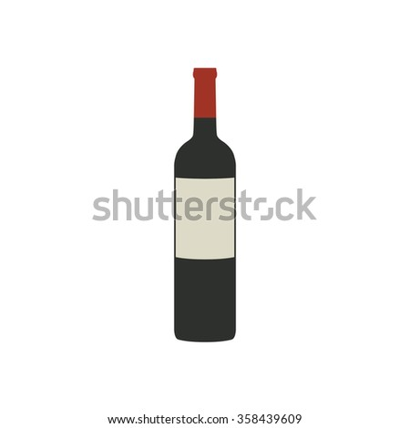 bottle of red wine icon. vector illustration - stock vector