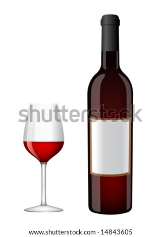 Bottle of red wine with a glass - stock vector