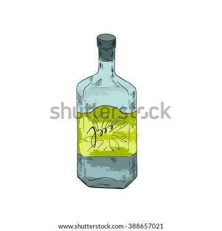 Bottle of strong drink tequila or vodka on white background. Cartoon sketch drawn by ink. Hand drawn vector illustration.