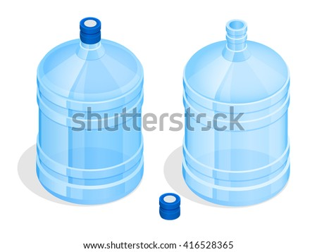 Bottle of water, Bottle of water isolated, Bottle of water on a white background, Bottle of water isometric, Bottle of water illustration, Bottle of water flat, Bottle of water vector, Bottle of water - stock vector