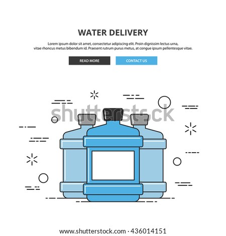 Bottle of water delivery web banner. Water delivery illustration isolated on white background. Thin line vector illustration. Vector image and graphic elements for your needs. Premium quality. - stock vector