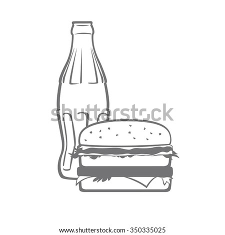 Bottle of whater and big burger. Flat Vector. - stock vector