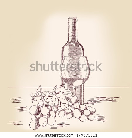 Bottle of wine and glass with grapes. Vector illustration - stock vector