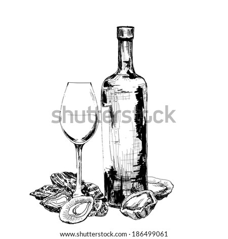 Bottle of wine, oysters and glass. Hand drawn illustration - stock vector