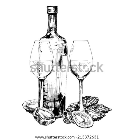 Bottle of wine, oysters and two glasses. Hand drawn illustration - stock vector