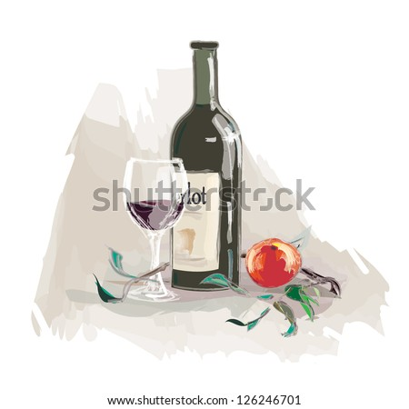 bottle of wine with a glass and apple - stock vector