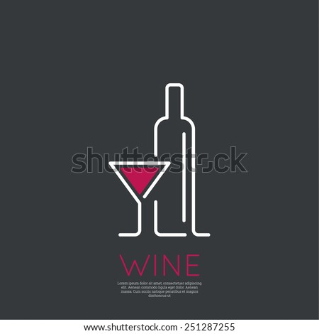 Bottle of wine with a glass wine. Icon, symbol, logo alcohol. For the menu, bar, restaurant, wine list. minimal. Outline - stock vector
