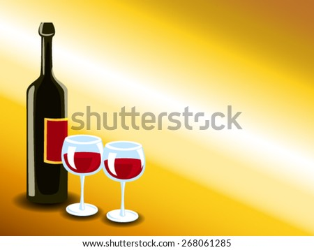 Bottle of wine with glasses over gold background, invitation or card - stock vector