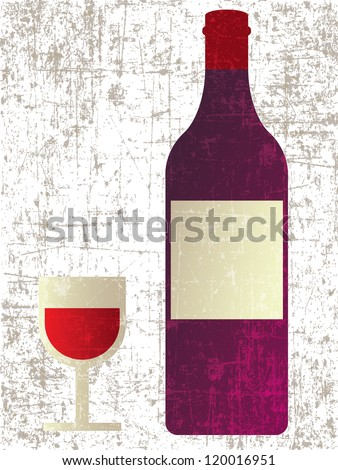 BOTTLE OF WINE WITH WINEGLASS VECTOR - stock vector