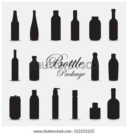 bottle package set design for advertising - stock vector