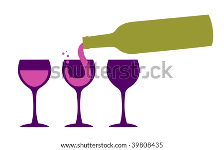 Bottle serving red wine in three wineglasses. White background - stock vector