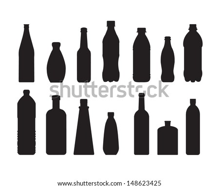 bottle set vector on white background - stock vector
