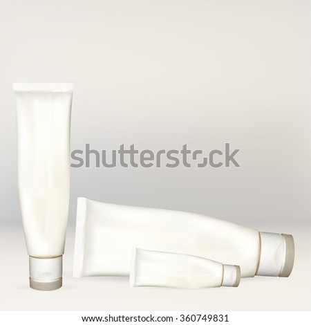 bottle tube of cream, lotion, white, empty, for applying your advertisement isolated vector new clean, for labeling, 3d vector illustration - stock vector