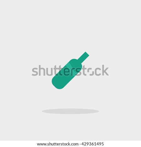 Bottle wine glass green icon vector - stock vector