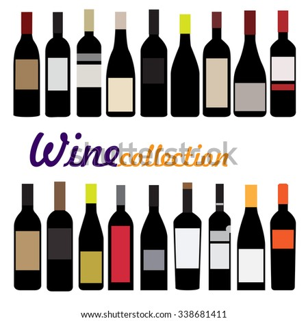 bottle wine vector illustration. collection of black bottles with color labels