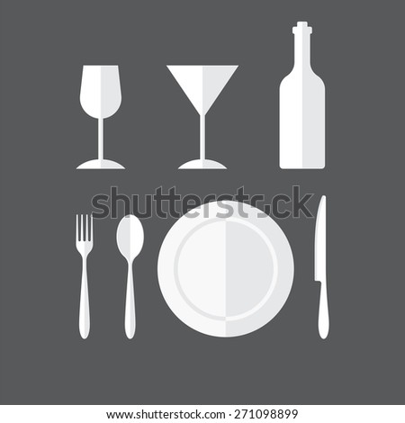 Bottle, wineglass, plate and cutlery flat style icon - stock vector