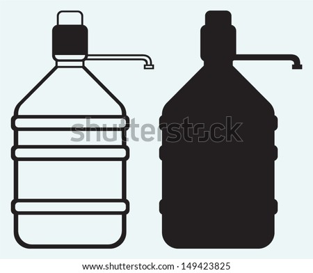 Bottle with clean water isolated on blue background - stock vector