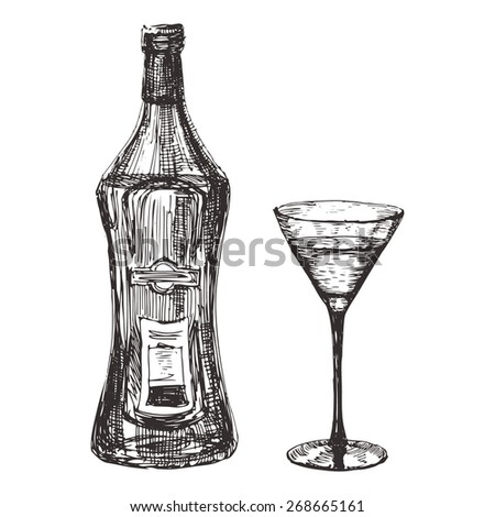 Bottle with martini glass hand drawn. Isolated on a white background - stock vector