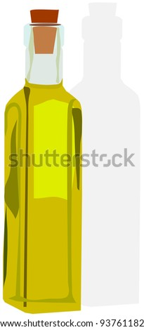 bottle with oil - stock vector