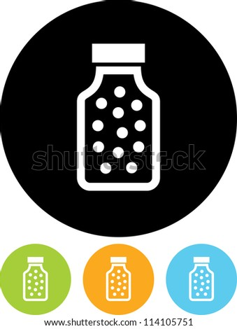 Bottle with pills or vitamins - Vector icon isolated - stock vector
