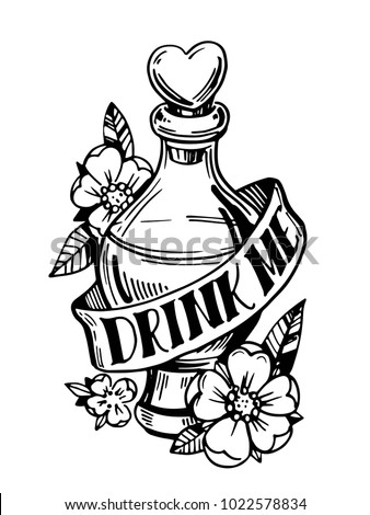 show product with Bottle Potion Drink Me Old School 1022578834 on 255683 Industrial Resolution Logo besides Culture Kings furthermore Black White Vector Sketch Tattoo Rose 557471494 also The Luck Of Irish also Dandelion Silhouette Snail Ladybug Black White 177777338.