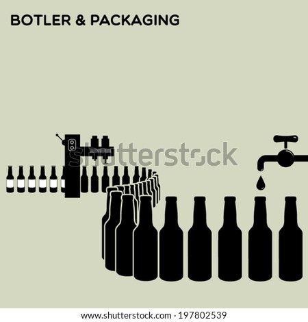 Bottler and packaging of bottles - water, beer, alcoholic & non-alcoholic drinks, oil, wine etc. - stock vector