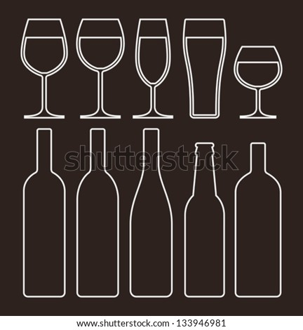 Bottles and glasses set - stock vector