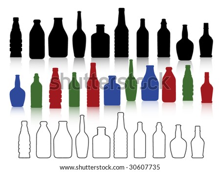 bottles collection - stock vector