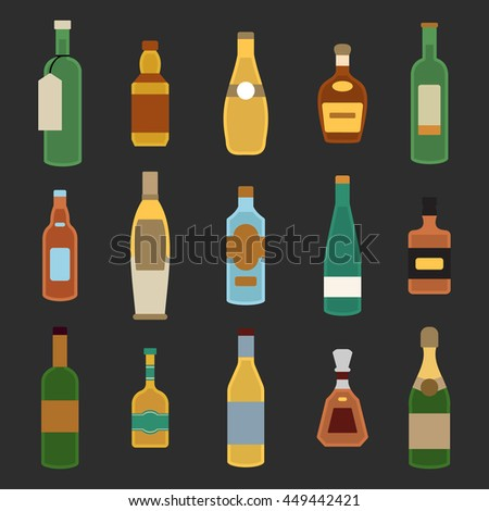 Bottles flat vector set