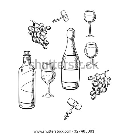 Bottles of a table and sparkling wines with wine glasses, grape fruits and corkscrews in sketch style, for drink or food themes - stock vector