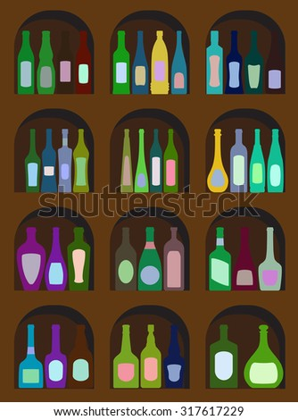 bottles of alcohol on a white background - stock vector