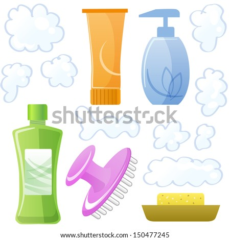 Bottles of body and hair care and beauty products.Shampoo, soap, hair mask, body gel, scalp massage brush and suds.File contains Gradients, Transparency, Clipping mask. - stock vector