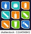 Bottles of cosmetic products on stickers - stock vector