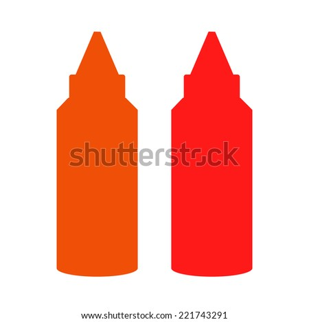 Bottles of ketchup and chili sauce