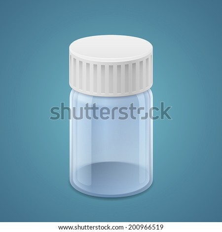 Bottles of pills isolated on blue background