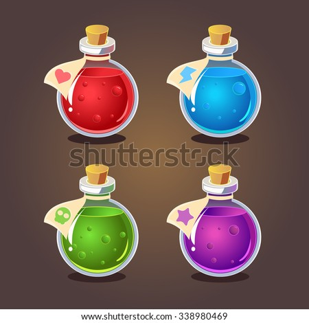 Bottles of potion different colors. Vector illustration for games - stock vector