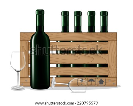 Bottles of wine in wooden box and glass wine on white background. Vector illustration - stock vector