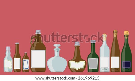Bottles set: alcoholic beverages in a row as if standing on a shelf. These are wine, champagne, brandy, beer bottles. - stock vector