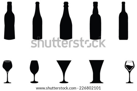Bottles vector silhouette illustration and with wine, beer glass - stock vector