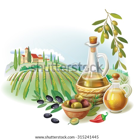 Bottles with Olive oil and rural landscape - stock vector
