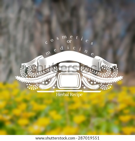 Bottles with ribbon near stalk with berries and leaves. Blurred background of meadow with yellow flower. Vector silhouette label. (cream, lotion, balm, tincture, cosmetics, oil, perfume, herbal drags) - stock vector