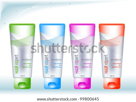 Bottles with sample labels for cosmetics or healthcare products on abstract blue background - stock vector