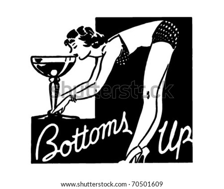 Bottoms Up - Retro Ad Art Banner