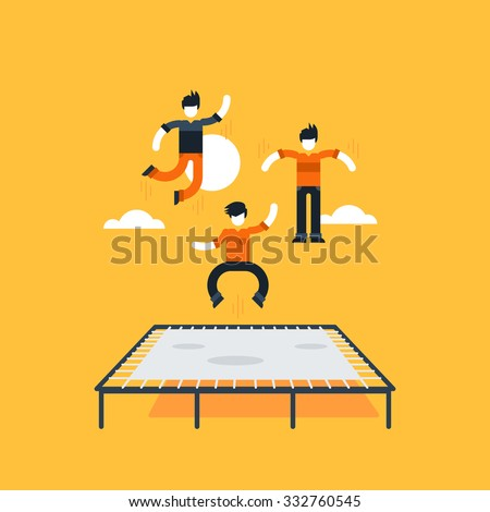 Bouncing on a trampoline - stock vector